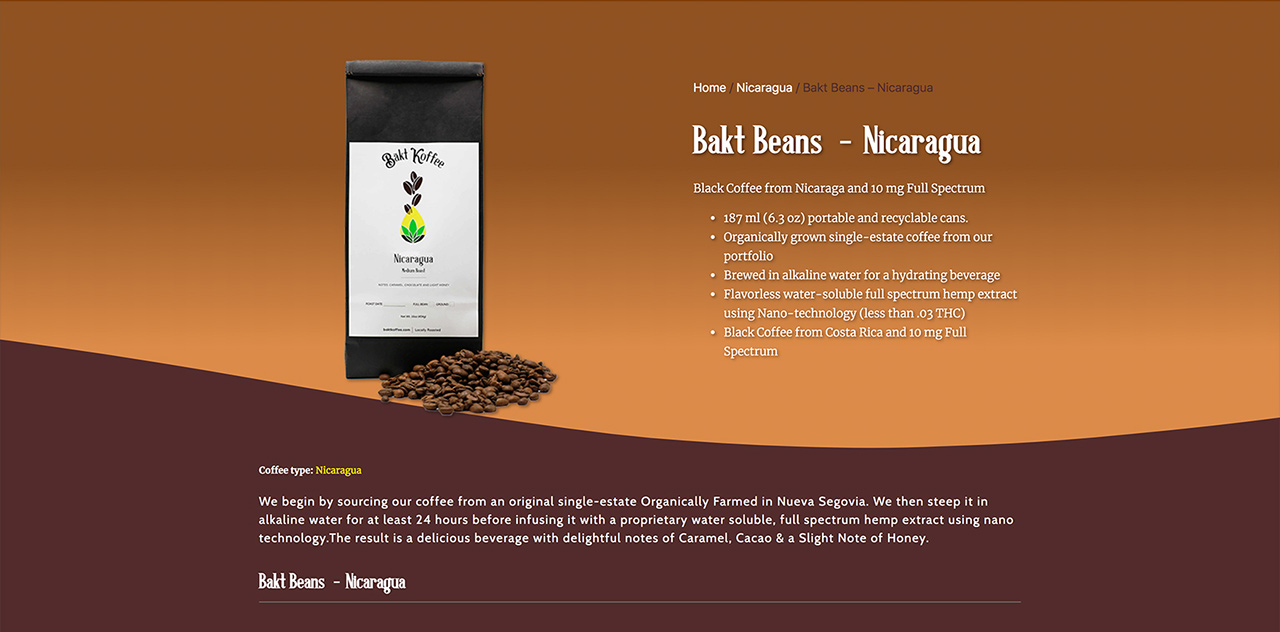 Fireball8 Design - Bākt Koffee - Web Design
